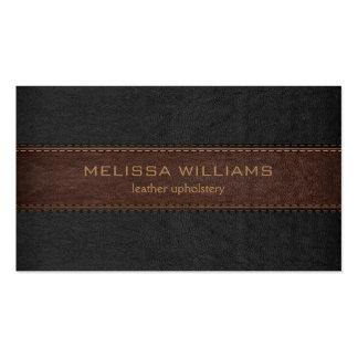 Brown y el negro cosieron la textura de cuero tarjetas de visita