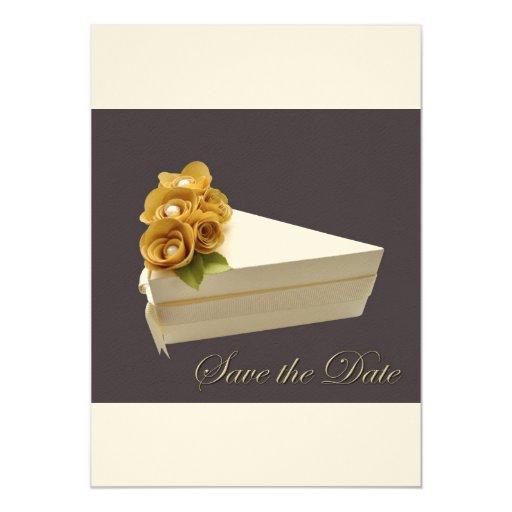 Brown y el oro ahorran la tarjeta del fieltro de invitación 12,7 x 17,8 cm