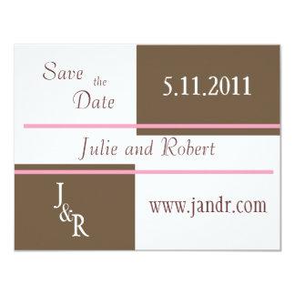 Brown y el rosa ahorran la invitación de la fecha
