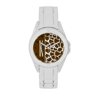 Brown y estampado de animales blanco de la jirafa relojes de mano