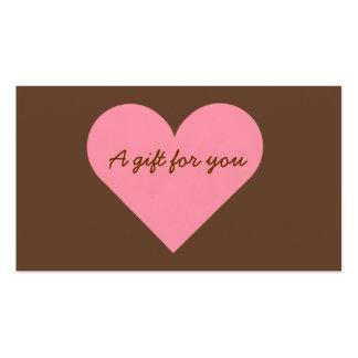 Brown y etiquetas rosadas del regalo del corazón tarjetas de visita