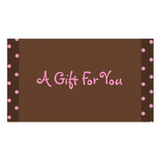Brown y etiquetas rosadas del regalo del lunar tarjetas de visita