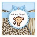 Brown y fiesta de bienvenida al bebé azul del mono invitación personalizada