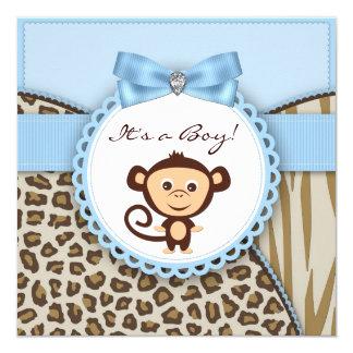 """Brown y fiesta de bienvenida al bebé azul del mono invitación 5.25"""" x 5.25"""""""