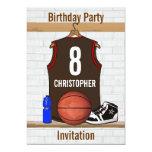 Brown y fiesta de cumpleaños roja del jersey del invitación 12,7 x 17,8 cm