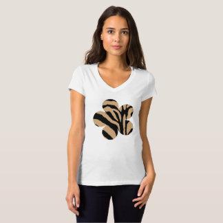 Brown y flor beige del estampado de zebra playeras
