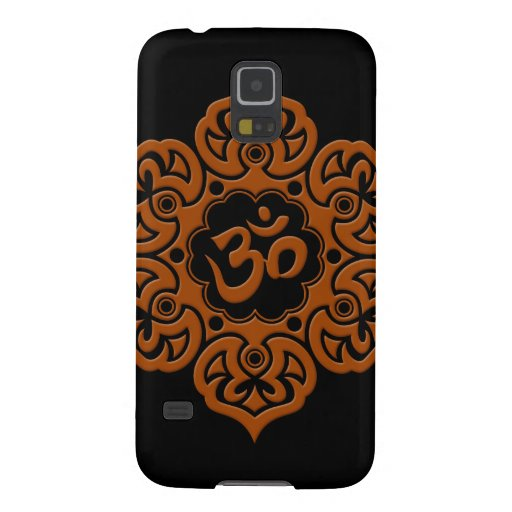 Brown y flor de Lotus negra OM Carcasa Para Galaxy S5