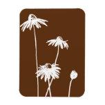 Brown y flor elegante blanca imanes rectangulares