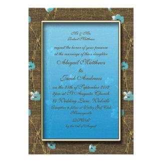 Brown y flores azules - invitación del boda