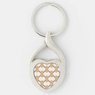 Brown y formas y líneas ovales beige llavero plateado en forma de corazón