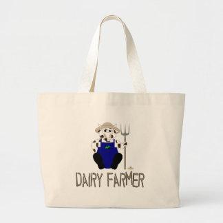 Brown y granjero de lechería blanco de Brown de la Bolsa Tela Grande
