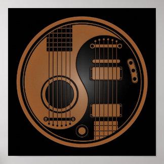 Brown y guitarras eléctricas acústicas Yin Yang de Poster