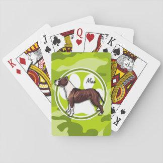 Brown y hoyo blanco; camo verde claro, camuflaje cartas de póquer