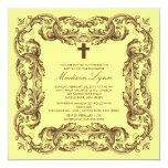 Brown y invitación amarilla del bautismo del marco invitación 13,3 cm x 13,3cm