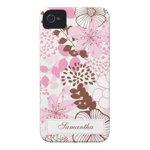 Brown y jardín rosado de la primavera iPhone 4 carcasa