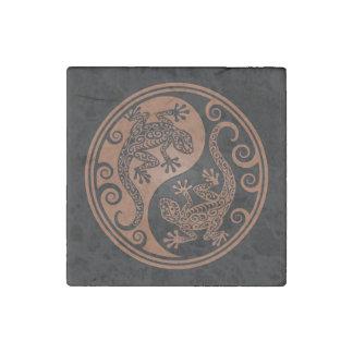 Brown y lagartos negros de Yin Yang Imán De Piedra