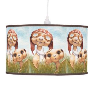 Brown y lámpara pendiente azul del cuarto de niños