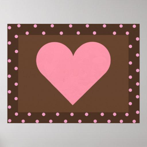 Brown y lona rosada del corazón poster