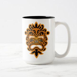 Brown y máscara azteca negra taza de café