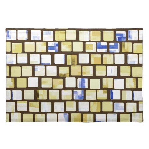 Brown y modelo de mosaico tejado azul del bloque manteles individuales