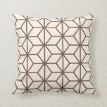 Brown y modelo geométrico beige del art déco almohada