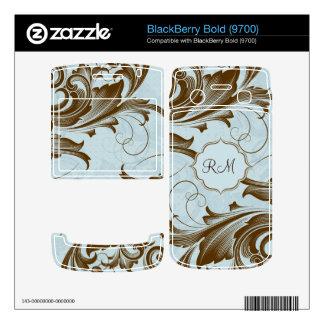 Brown y Modelo-Monograma floral azul de los remoli Calcomanía Para BlackBerry