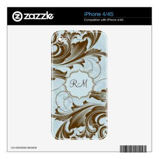 Brown y Modelo-Monograma floral azul de los remoli Skins Para iPhone 4S