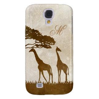 Brown y monograma africano de marfil de la jirafa carcasa para galaxy s4