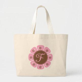 Brown y monograma rosado F Bolsa Tela Grande