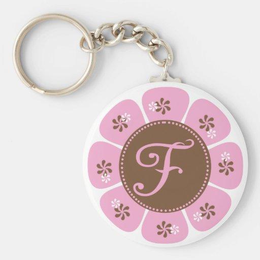 Brown y monograma rosado F Llavero Personalizado