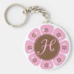 Brown y monograma rosado H Llaveros Personalizados