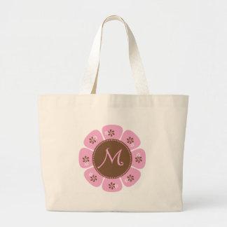 Brown y monograma rosado M Bolsa Tela Grande