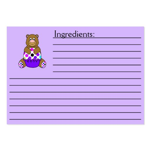 Brown y oso púrpura de Polkadot Tarjetas De Visita Grandes