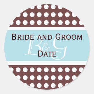 Brown y pegatina azul del monograma del boda