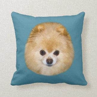 Brown y perro blanco de Pomeranian Cojín