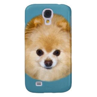 Brown y perro blanco de Pomeranian Funda Para Galaxy S4