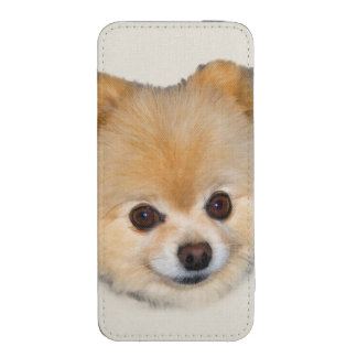 Brown y perro blanco de Pomeranian Funda Para iPhone 5