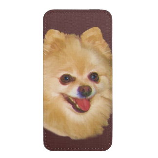 Brown y perro blanco de Pomeranian Funda Acolchada Para iPhone
