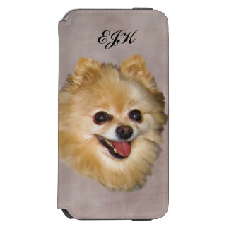 Brown y perro blanco de Pomeranian, monograma Funda Cartera Para iPhone 6 Watson
