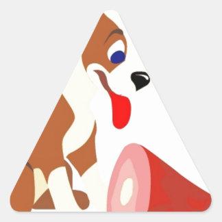 Brown y perro blanco pegatina triangular