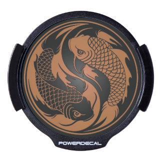 Brown y pescados negros de Yin Yang Koi Decal LED Para Ventana
