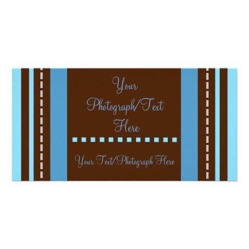 Brown y Photocard rayado azul Tarjetas Fotográficas