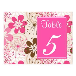 Brown y postal rosada del número de la tabla de la