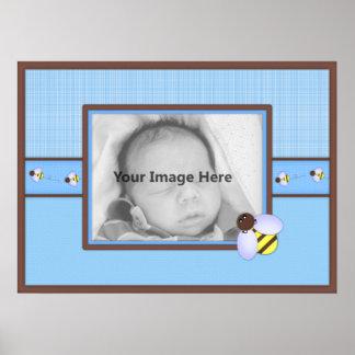 Brown y poster azul del personalizado del bebé