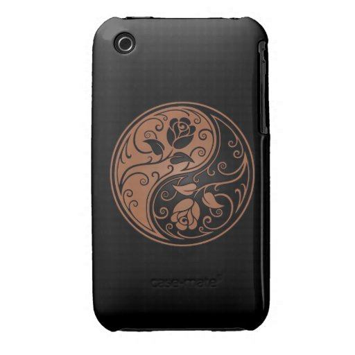 Brown y rosas negros de Yin Yang iPhone 3 Case-Mate Cárcasas