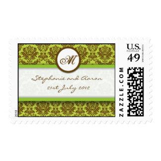 Brown y sello verde del boda del monograma del