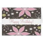 """Brown y """"tarjeta de cumpleaños florecida rosa """""""