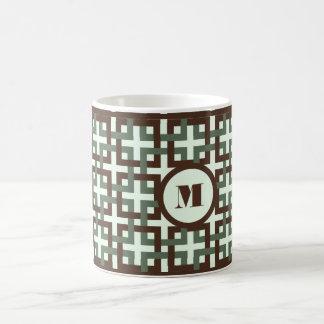 Brown y taza verde de los cuadrados