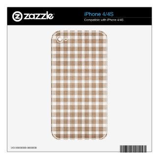 Brown y tela escocesa blanca calcomanía para el iPhone 4