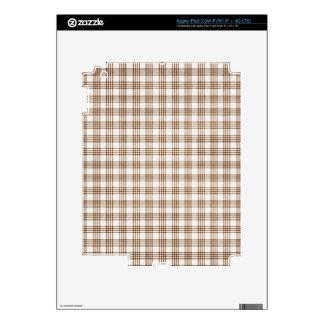 Brown y tela escocesa blanca pegatina skin para iPad 3